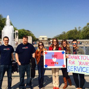 DFC staff thanking vets at WWII memorial